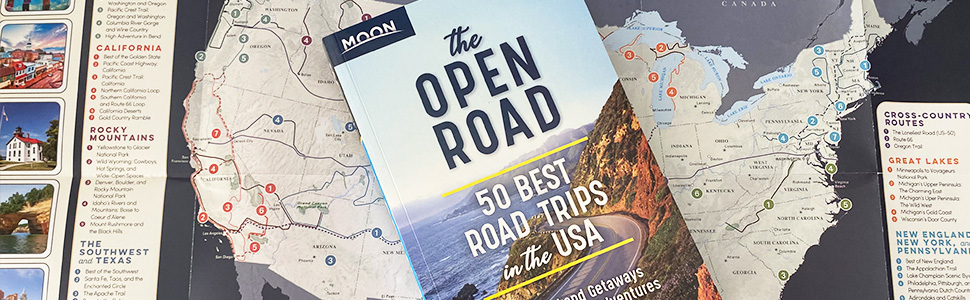 The Open Road 50 Best Road Trips in the USA with foldout souvenir map