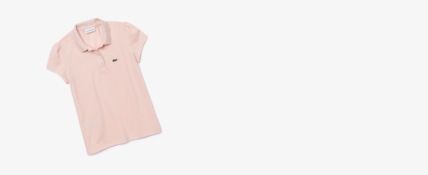 Polo liso para niña en rosa palo