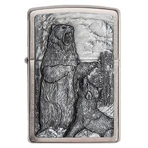 zippo, zippo lighter, zippo animal lighter, emblem lighter, bear and wolf lighter, zippo,