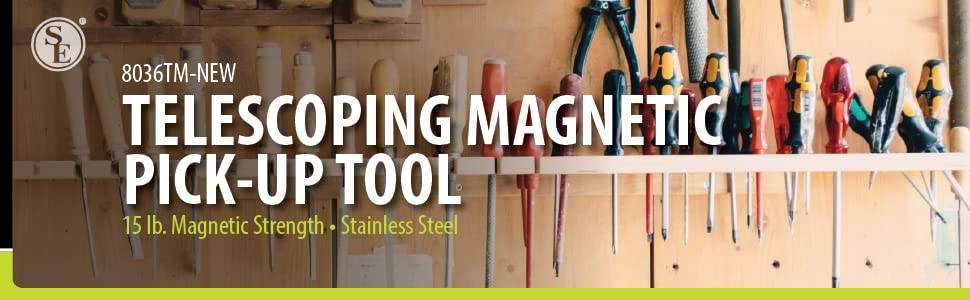 Telescopic magnetic pick-up tool banner