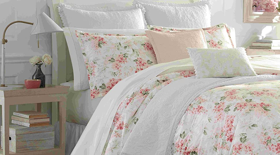 cotton bedding;queen bedding;king bedding;twin bedding;reversible quilt;floral comforter, pink bed