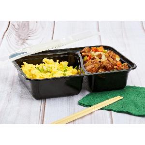 Karat 30 oz Black PP Microwavable Rectangular Food Containers amp; Lids
