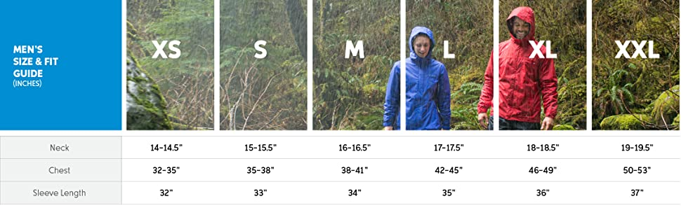 Men's rain jacket size and fit guide