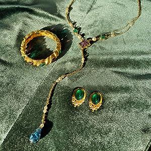 royal tudor elegant classy gem emerald lapis sapphire ruby bangle cuff