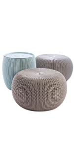 Keter Cozy Urban KNit Set with 2 poufs and storage table ottoman