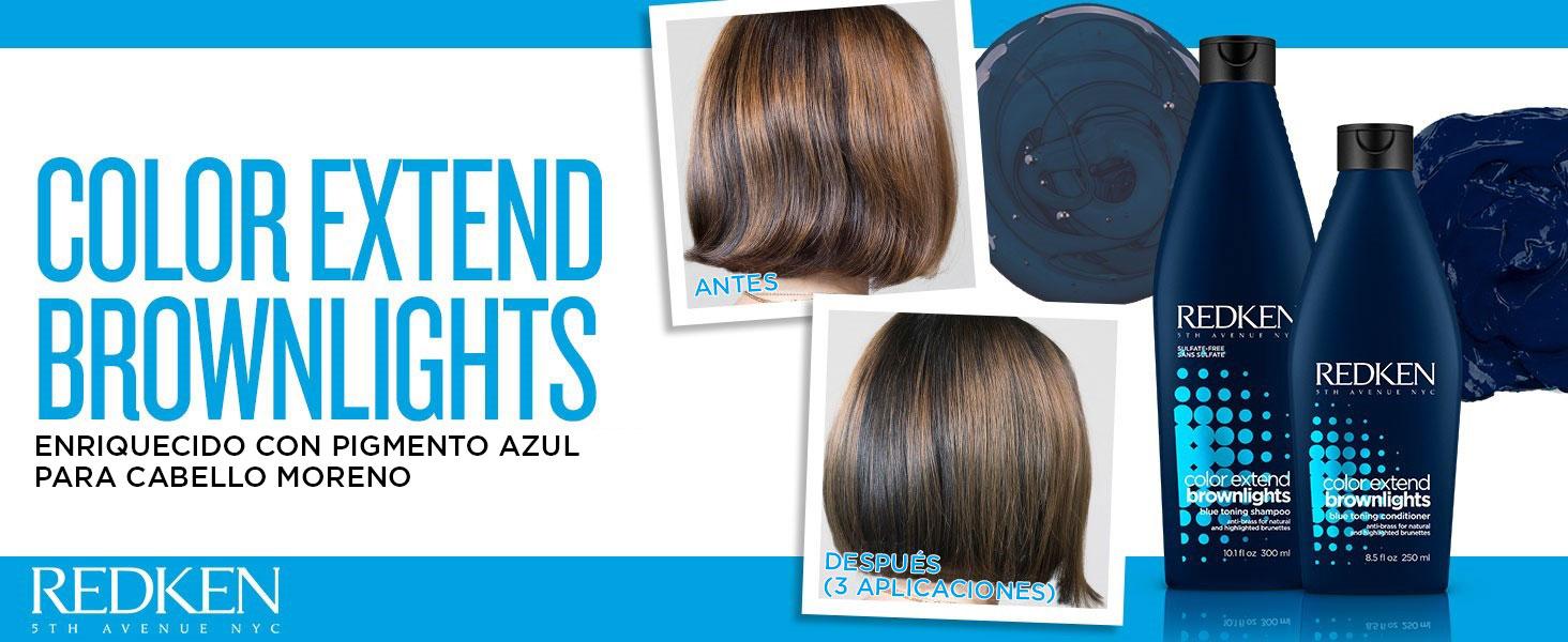 Redken - Acondicionador Color Extend Brownlights para neutralizar reflejos rojizos y anaranjados indeseados en cabello moreno natural o coloreado ...