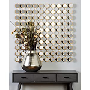 Amazon Com Deco 79 64109 Modern Style Large Square Wall Mirror With Round Gold Metal Mirror Grid Gold Mirror Wall Decor Contemporary Wall Mirror Accent Decor 39 X 39 Silver Home Kitchen