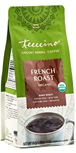 Teeccino French Roast Herbal Coffee can be brewed in any kind of coffee maker and is caffeine free