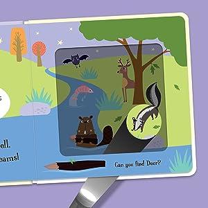 Open view of Goodnight Bear showing the magic card flashlight revealing hidden animal friends.