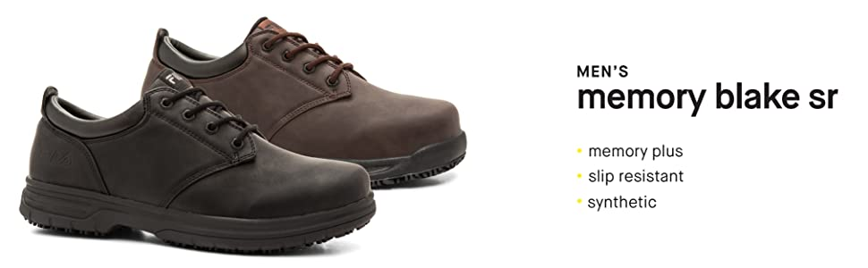 Amazon Com Fila Men S Memory Blake Work Slip Resistant Walking Shoe Loafers Slip Ons