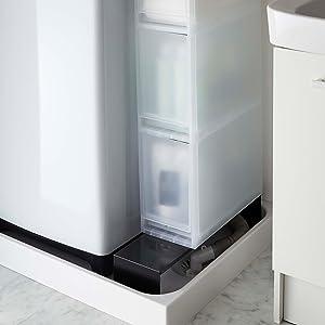 伸縮 洗濯機隙間ラック タワー ブラック