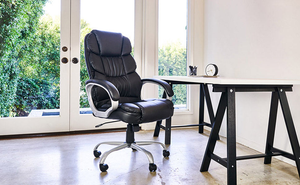 Ergonomic Office Chair Desk Chair Computer Chair With Lumbar Support Arms Executive Rolling Swivel Pu Leather Task Chair For Women Adults Black Furniture Decor