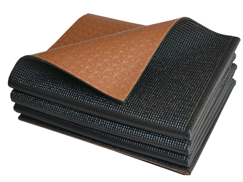 Khataland YoFoMat® - Best Foldable Yoga & Pilates Mat - Dual Color Black & Coffee, Extra Long 72