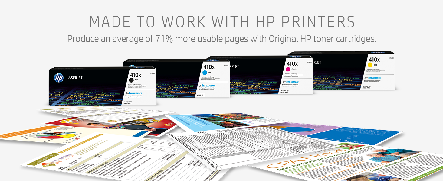 MADE TO WORK WITH HP PRINTERS Produce average of 71% more usable pages Original HP toner cartridges.