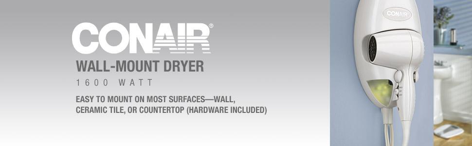 Amazon.com: Secadora de pelo de Conair con soporte de pared ...