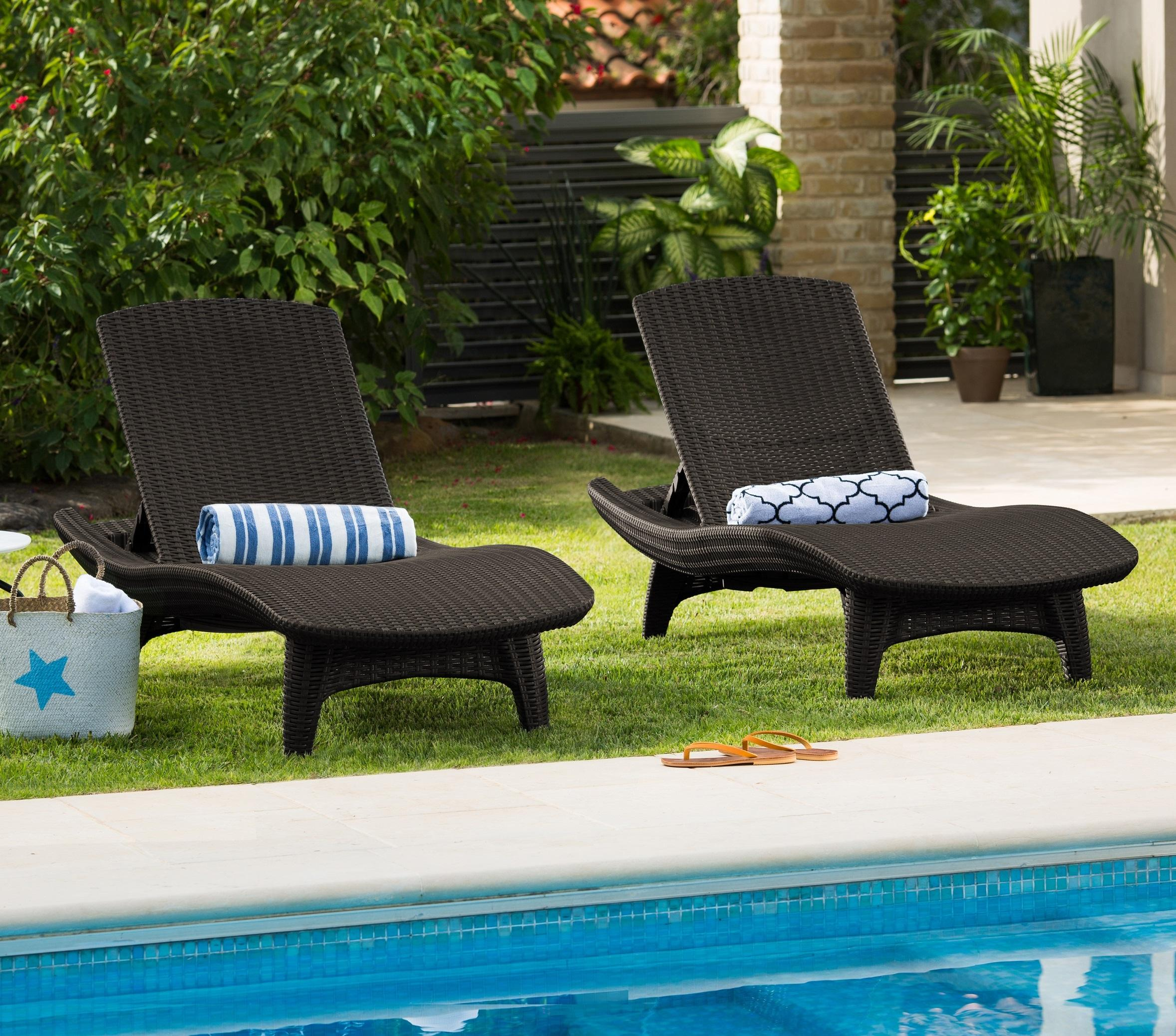 keter 2 pack all weather adjustable outdoor patio chaise. Black Bedroom Furniture Sets. Home Design Ideas