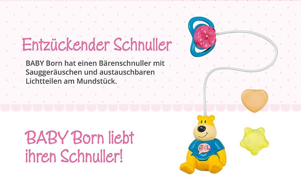 Puppenschnuller Bär Bruno 43 cm Zapf BABY born Interaktiver Schnuller
