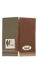 Embroidered dishtowel set in shades of green and brown.