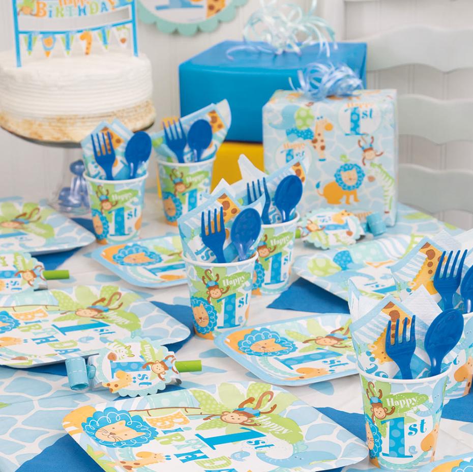 Amazon.com: Square Blue Safari 1st Birthday Dinner Plates