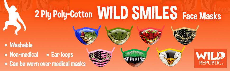 Wild Republic Masque adulte Wild Smiles de pouvant se superposer /à un masque /à usage m/édical lavable avec motifs gueules de tigre 25792 couvrant la bouche et le nez r/éutilisable