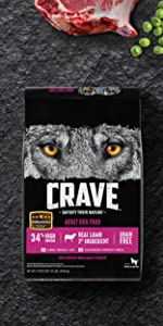 Crave Dry Dog Food Lamb Venison, Real Meat, Beef, Protein Rich, Dry Food for Dogs, Dog Kibble