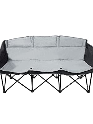Swell Goteam 3 Seat Portable Folding Bench Couch Black Gray Pabps2019 Chair Design Images Pabps2019Com