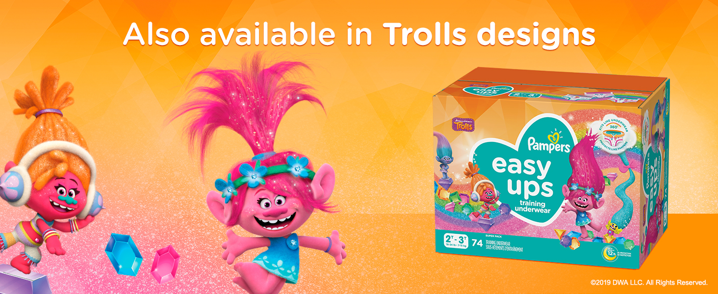 Also available in Trolls designs