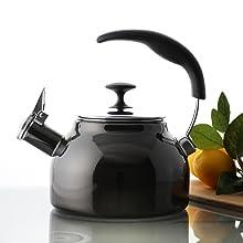 Chantal whistling teakettle teapot MMP ergonomic enamel-on-steel kitchen durable interior design