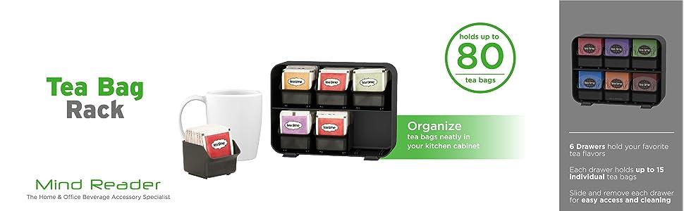 tea bag holder, tea bags, individual, black, red, white, clutch, tea holder, removable, drawers