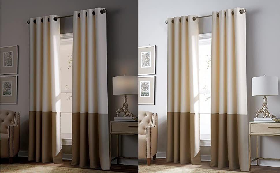 Amazon Com Curtainworks Kendall Color Block Room Darkening Grommet Curtain Panel 108 Inch White Grey Blackout Home Kitchen