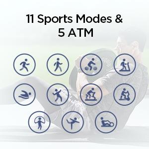 11 modos deportivos y 5 ATM resistente al agua