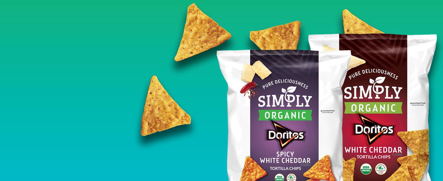 Spicy White Cheddar, nacho, organic, non-gmo, Doritos, healthy, no artificial, preservatives, Simply