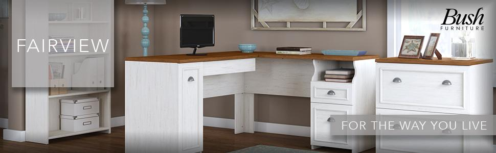 Fairview,desk,hutch,lateral File,office,black,white,Bush
