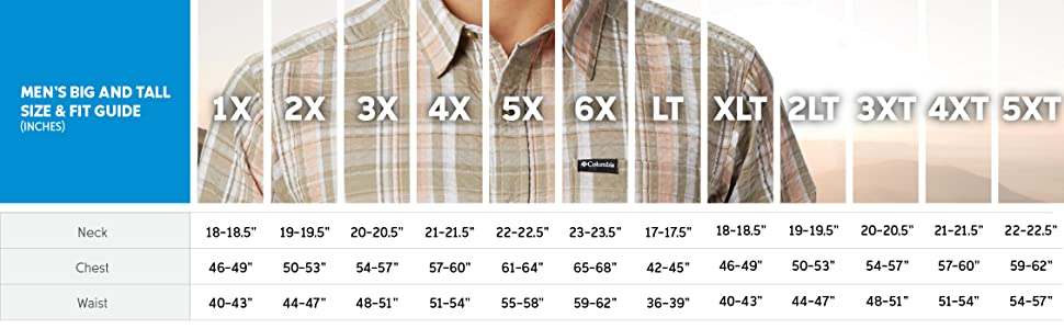 Men's short sleeve size and fit guide