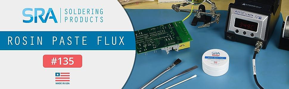 rosin, flux, 135, paste, sra, solder, soldering, circuit, board, pcb, aoyue, wire, brush