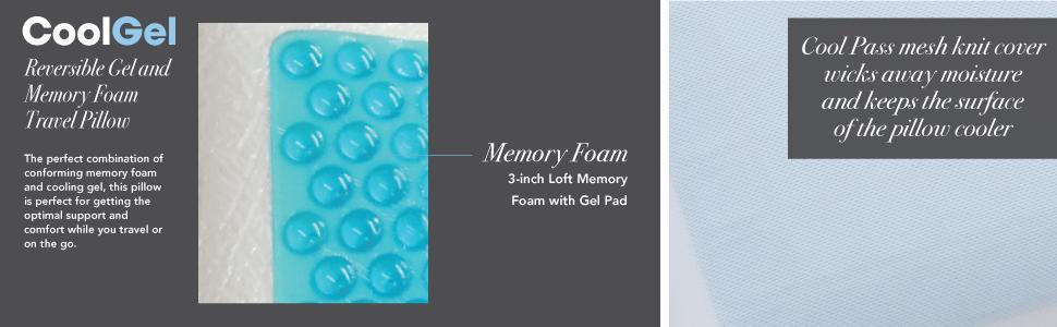 Classic Brands Reversible Gel and Memory Foam Travel Pillow