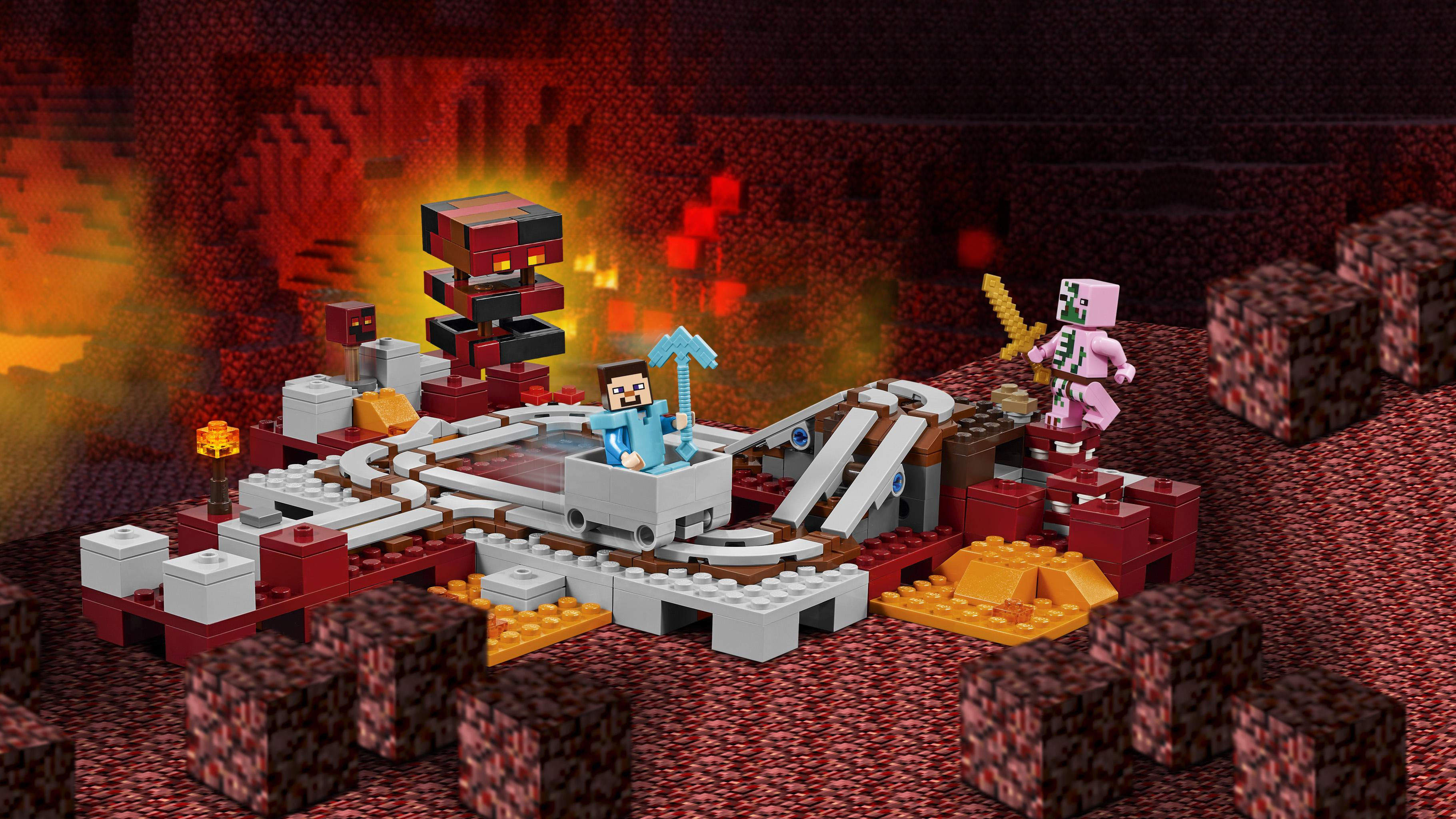 Amazon.com: LEGO Minecraft The Nether Railway 21130: Toys ...