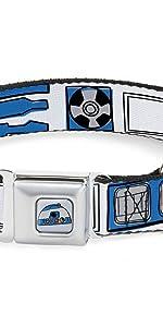 R2D2 R2-D2 Star Wars Blue White Belt Seatbelt Collar Dog Pet Lucasfilm Robot