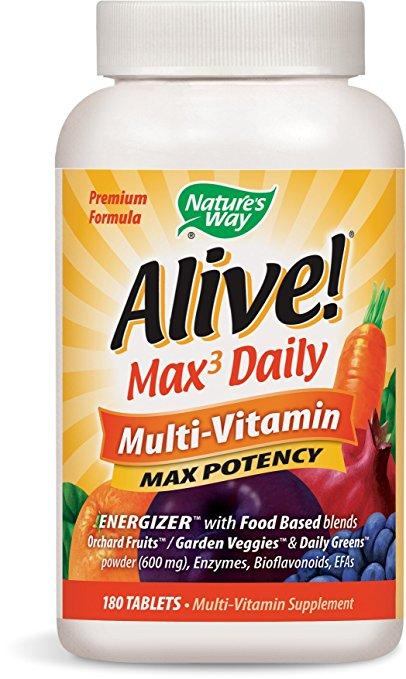 Amazon.com: Nature's Way Alive! Max3 Daily Multi-Vitamin, Max Potency, 180 Tablets: Health