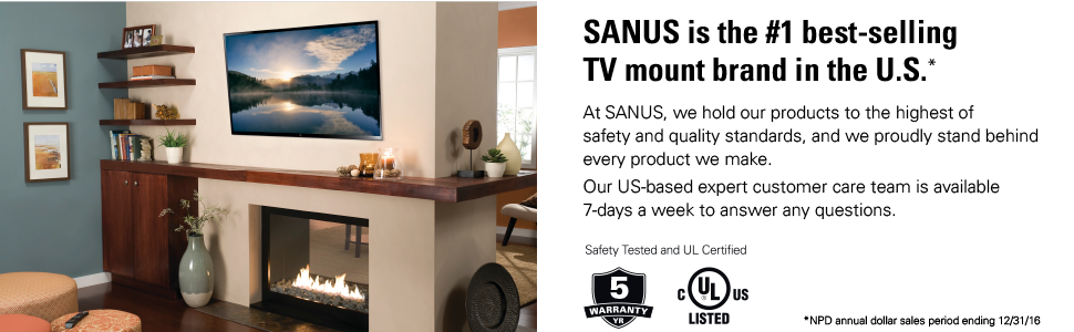 Amazon Com Sanus Low Profile Tilt Tv Wall Mount For 37