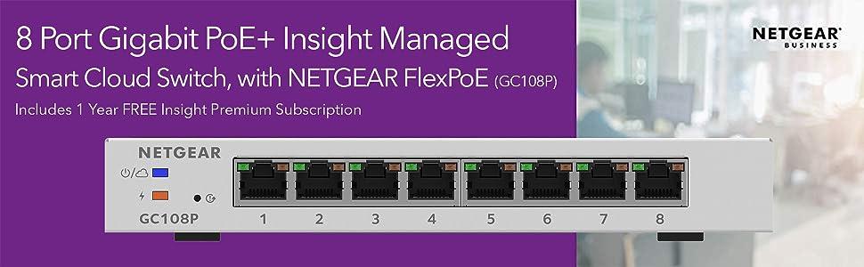 Netgear Gc108pp Gigabit Ethernet High Power Poe Smart Cloud Switch Mit Flexpoe Power 8 Ports Gewerbe Industrie Wissenschaft