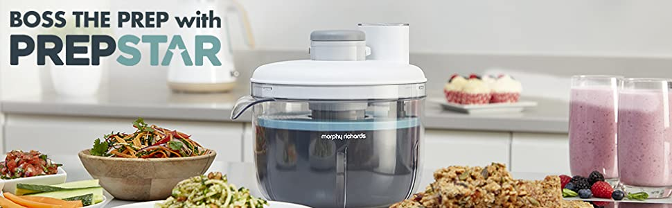 Morphy Richards 401012 Prepstar Food Processor, All in One Easy Storage, BPA Free Mixing Bowl