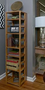 flip flop, bookcase, bookshelf,folding, collapsing,square,cube storage, cube case,no tools,oak