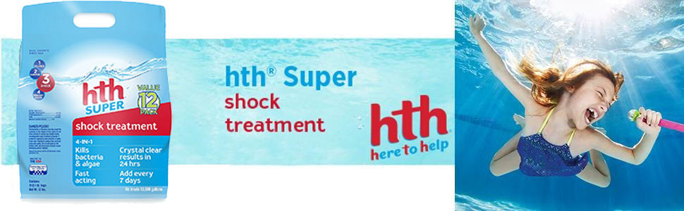 hth shock super shock chlorination 12 pack chlorine pool chemicals