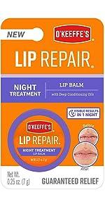 O'Keeffes night treatment lip repair lip balm to heal dry cracked lips