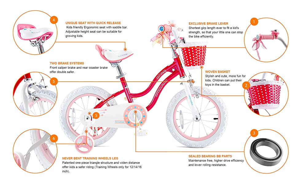 RoyalBaby Stargirl Girl's Bike Features: