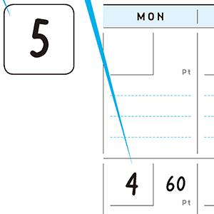 マンスリー記入例:月と日付を書き込みましょう