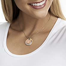 Tri color disc necklace tones of gold silver and carnation gold pendant necklace