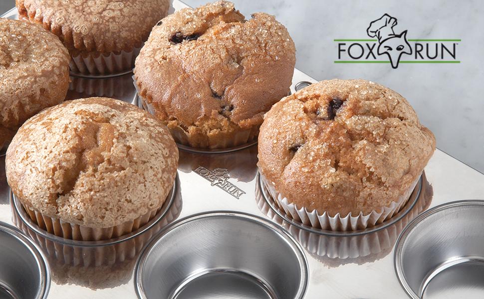 Fox Run bakeware; stainless steel bakeware; stainless steel baking pans; stainless steel muffin pan