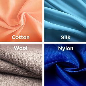 one setting, cotton, silk, wool, nylon, fabric